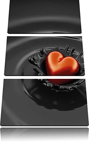 Rotes Herz in Schokolade 3-Teiler Leinwandbild 120x80 Bild auf Leinwand, XXL riesige Bilder fertig gerahmt mit Keilrahmen, Kunstdruck auf Wandbild mit Rahmen, gänstiger als Gemälde oder Ölbild, kein Poster oder Plakat -