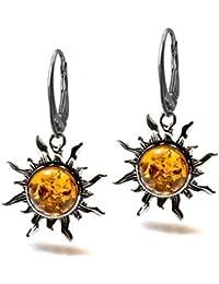 Honey Amber Sterling Silver Sun Leverback Earrings