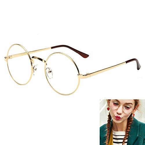 Brille / Sonnenbrille im Retro-Stil, mit Vintage-Rahmen aus Metall und klaren Linsen, Pilotenbrille,...