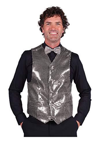 T0978-1700-XXL Silber Herren Pailletten Weste Show Kostüm - Herren Pailletten Weste Kostüm