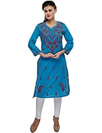 ADA Lucknowi Chikan Needlecraft Ethnic Women's Blue Cotton Kurti Casual & Party Wear A154164