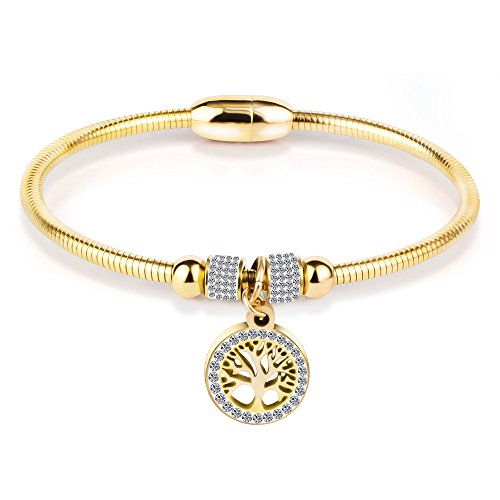 ZSML Mode Life Tree Armband, Titanium Stahllinie Magnet Schnalle Bangles, Damen Rose Gold DREI Farben Armbänder Schmuck,goldcolor -