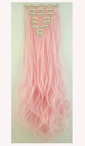 S-noilite Stylish 24(61cm) Full Head Clip in Hair Extensions 8 Piece 18clips Curly Light Pink by (Hair Pink Extensions)