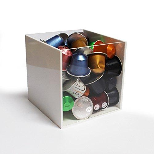 Porta capsule cubo senza coperchio bianco in plexiglass made in italy 12 cm