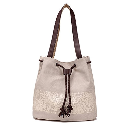 mixinni® Casual Schultertasche Segeltuch Schulterbeutel Nationalen Stil Handtasche Tasche Umhängetasche Damen Taschen Sommer Crossbody Beige