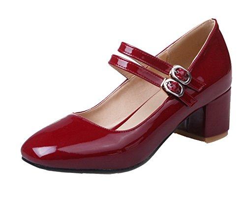 VogueZone009 Femme à Talon Correct Verni Couleur Unie Boucle Rond Chaussures Légeres Rouge