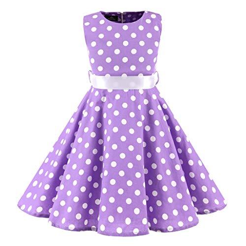 Livoral Baby Madchen Geschenke Kinder Teen Kinder Mädchen Vintage 1950er Jahre Retro ärmellose Dot Print lässige Kleidung(Lila,X-Small)