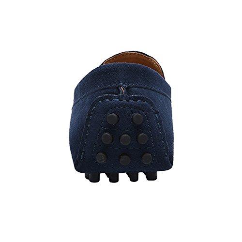 Rismart Herren Stilvoll NATO-Bügel Fahrschuhe Komfort Handgefertigt Wildleder Mokassin Hausschuhe Marineblau
