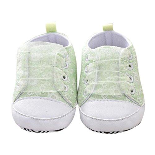 Scarpe bimbo bebé primi passi unisex prima infanzia scarpine in panno prima infanzia calzature neonato 0-18 mesi (età: 12~18 mesi, verde)