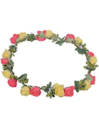 Sanjog Yellow and Dark Pink Flower Gracious Tiara Crown For Wedding Party  Beach For Women Girls 9e457a42ab60