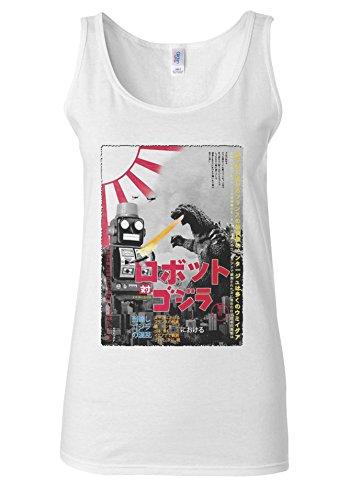 Tokyo Tin Robot Godzilla Top Fashion Novelty White Women Vest Tank Top **Blanc