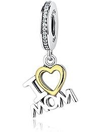 I Love mamá 925plata de ley Dangle Charms Pandora, pulseras compatible