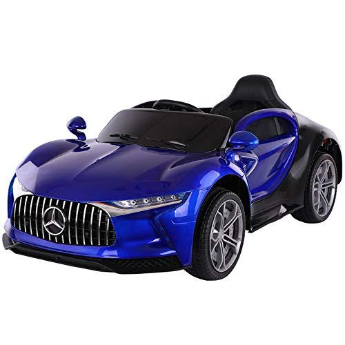 GUOJIUXIAO Kinder 2,4G Fernbedienung Elektroauto, Dual Drive Dual Batterie Elektroauto Baby Lade Schaukel Früherziehung Spielzeug Baby Auto Geschenk,Paintblue,plasticseat