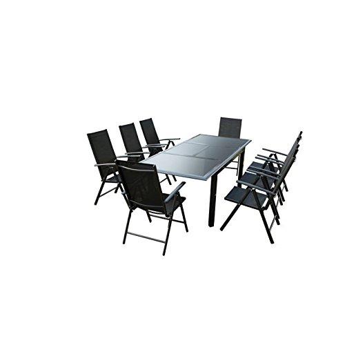 Ensemble Table de jardin en Aluminium Gris anthracite avec rallonge plateau en verre Noir + 8 Fauteuils en textilène Noir ROMY - L 240 x l 100 x H 75