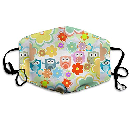 Masken, Masken für Erwachsene,Face Mask Reusable, Warm Windproof Mouth Mask, Lovely Owls and Flowers Reusable Anti Dust Face Mouth Cover Mask Protective Breath Healthy Safety