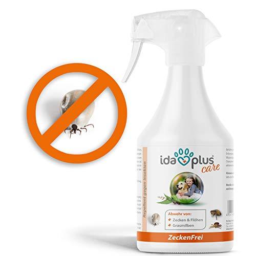 Ida Plus - Zeckenfrei 500 ml - Zeckenspray gegen Zecken, Mücken, Flöhen, Grasmilben & Parasiten - Zeckenmittel für Hunde - Anti Zecken Insektenspray mit Geraniol & Nelkenblätteröl zum Insektenschutz