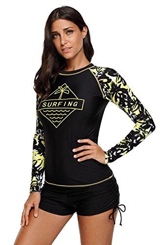 Damen Rash Guard Bademode Sets Sport Badeanzug Langarm UV-Schutz Ausschlag Garde, Erwachsene Tankini für Schwimmen, Surfen, Tauchen,Large,  Lc453