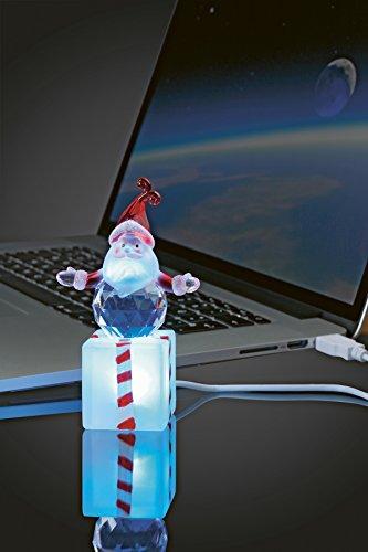Bezauberndes LED - Kristall mit Farb - Wechsel - Licht mit praktischem USB - Anschluss für Computer , PC und Laptop - NEU für Sie entdeckt im KAMACA-SHOP - ein tolles Geschenk für Geburtstag, Advent , Herbst Winter Weihnachten (Weihnachtsmann / Santa Claus)