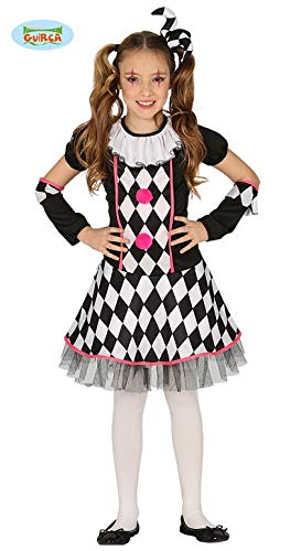 Fiesta Guirca Närrisches Harlekin Clownkostüm für Mädchen schwarz-Weiss-pink 123/134 (7-9 Jahre) (Harlekin Mädchen Kostüm)