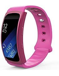 MoKo Samsung Gear Fit II Armband - Silikon Sportarmband Sport Band Uhrenarmband Erstatzband mit Stiftschließe aus Edelstahl für Samsung Gear Fit II Smartwatch, Magenta (3 St. Armbänder für 2 Längen)