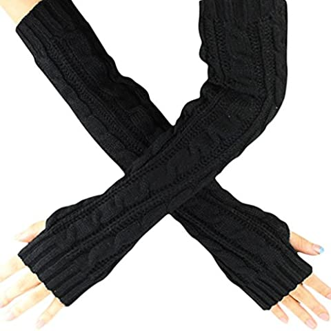Gants Femme, Koly Hemp Flowers Fingerless Knitted Long Gloves (Noir)