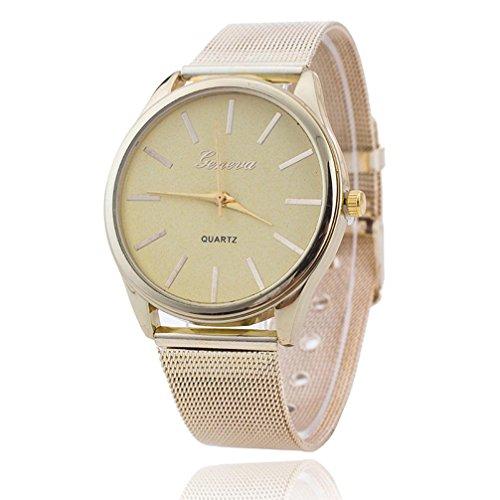 Vovotrade elegante mujer damas de cristal de oro Wristand malla reloj
