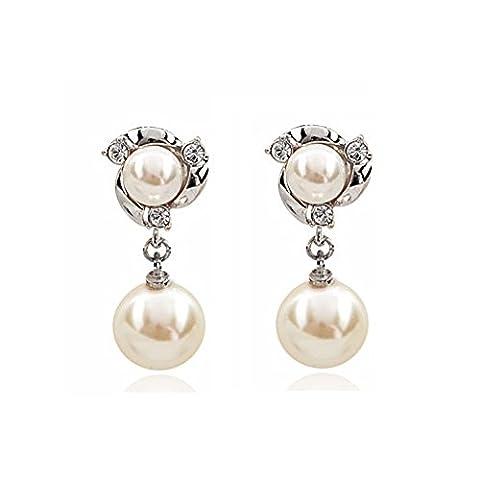 Élégantes boucles d'oreilles perles/Boucles d'oreilles simple tempérament-B