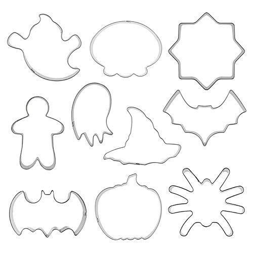 Hihey 10 Stück Halloween Ausstechformen Set Plätzchenformen aus Edelstahl Metall perfekt für Keks,Backen Fondant Plätzchen,Tortendekorationen