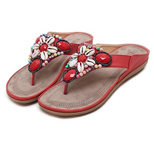 Sandali Piatti da Donna Estate Scarpe da Spiaggia Boemia Ragazze Flip Flop,Rosso,EU43=CN44