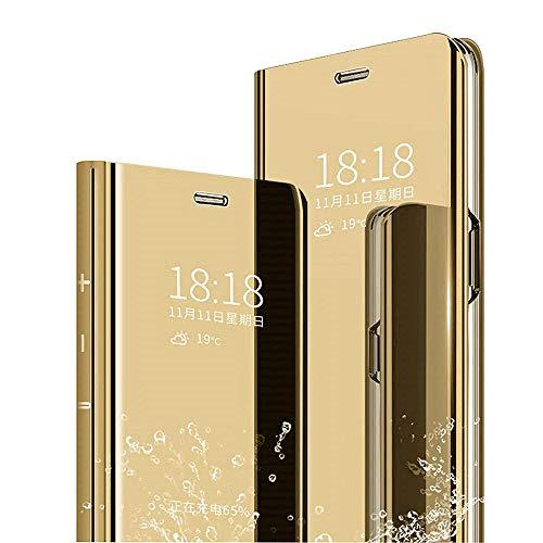 SharSon Huawei Mate 7s Hülle Case mit Klar View Ständer Funktion Semi Transparent Cover PU+TPU Material Schutzhülle Handyhülle Kompatibel für Huawei Mate 7s Case(Golden)