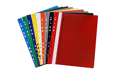 18 PVC Schnellhefter DIN A4 / gelocht - Eurolochung / 9 verschiedene Farben