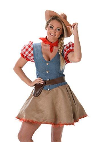 Preisvergleich Produktbild Rodeo Cowgirl Ladies Fancy Dress Wild West Western Womens Cowboy Adult Costume
