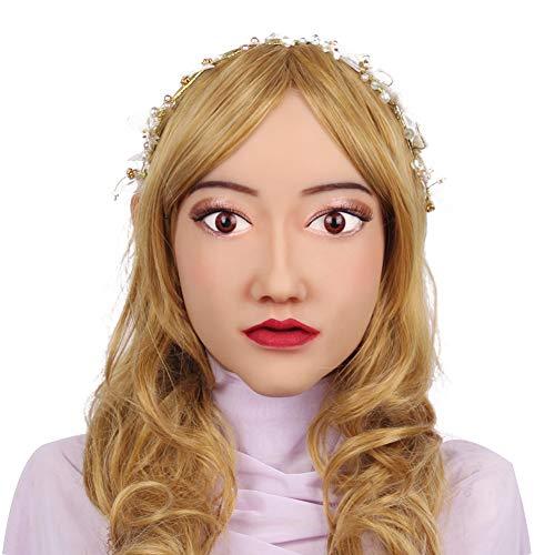 Weiche Silikon Crossdresser Cosplay Maske weiblichen Kopf Maske handgemachte Make-up Transgender Masken für Big Head klassischen Stil (Halloween-kostüme Klassische Männlich)