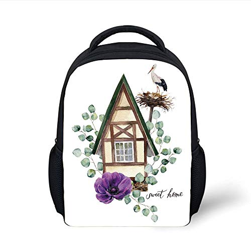 Kids School Backpack Anemone Flower,Watercolor Happy Home Label House in Alpine Style White Stork Nest Decorative,Green Purple Brown Plain Bookbag Travel Daypack Anemone Cup