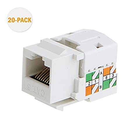 cablecreation 20 CAT6/RJ45 Keystone Module connecteur Keystone, Punch Down Support,