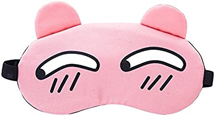 Pink Sleep Mask Cute Tear Emoticon Universal Eye Mask With Reusable Ice Pack for Hot Cold Therapy