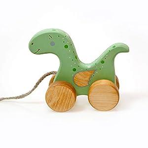 Dinosaurier Spielzeug, Nachziehspielzeug ab 1 Jahr, Holzspielzeug für Kleinkind