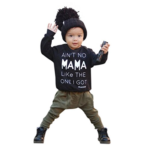DAYSEVENTH 2016 Cute Baby Kids Set Clothes Long Sleeve Letter Print T-shirt +Pants Outfits Set (6M, Black)