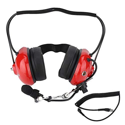 Pilot Aviation Headset, Robustes Zwei-Wege-Funk-Headset H41-CF Hinter dem Kopf liegendes Headset mit CC-Ken-Spiralkabel M-Kabel, Noise Cancelling für Motorola CP100 / CP150 / CP200.(rot) - Electronic Noise Cancelling Aviation Headset