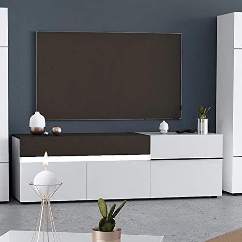 NOUVOMEUBLE Grand Meuble TV Design Blanc et Gris laqué Santana