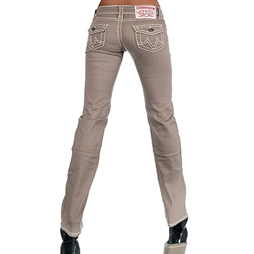 H922 Damen Bootcut Jeans Hose Damenjeans Hüftjeans Gerades Bein Dicke Naht  Nähte Coffee 7e0e996939