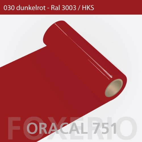 Orafol - Oracal 751 - 31cm Rolle - 5m (Laufmeter) - Dunkelrot / hochglänzend, A82oracal - 751 - 31cm - 03 - kl - Autofolie / Möbelfolie / Küchenfolie