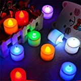 Alria Led Candles Flameless Smoke Free Multi Auto Colour Change Tea Light,Set Of 12 Pcs (Battery Included)