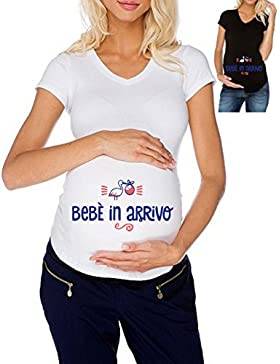 T-shirt PREMAMAN maglietta Lunga DONNA cotone BASIC super vestibilità top qualità - BEBE' IN ARRIVO bimbo gravidanza...
