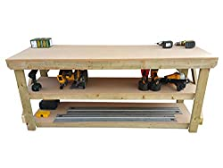Wooden MDF Workbench With Double Shelf - Work Table Handmade Strong Heavy Duty - Made From Construction Grade Timber (8ft)