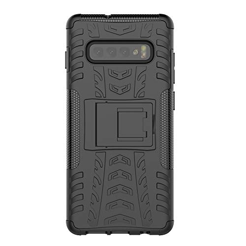 KISCO pour Coque Samsung Galaxy S10 Plus,2 en 1 Cover avec Support Antichoc Anti-Rayures Heavy Duty Flexible TPU+PC Etui de Protection pour Samsung Galaxy S10 Plus-Noir