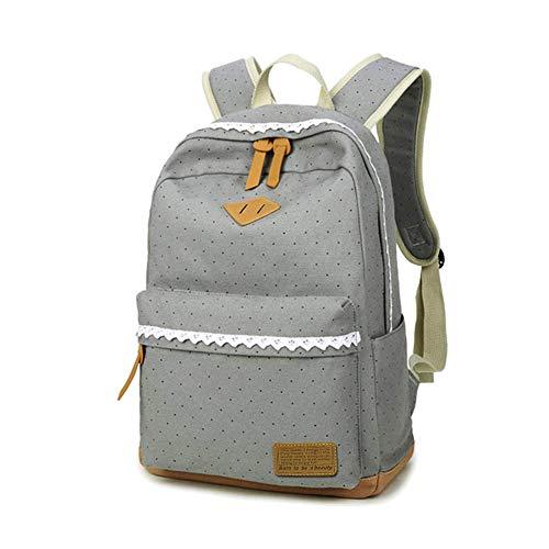 Mädchen Rucksack KHDZ Schulranzen Segeltuch Alltagtasche mit Punkten Spitzen 7 Fächern Groß für 15,6 Zoll Laptop perfekt für Freizeit Schule Reise EINWEG (Grau)
