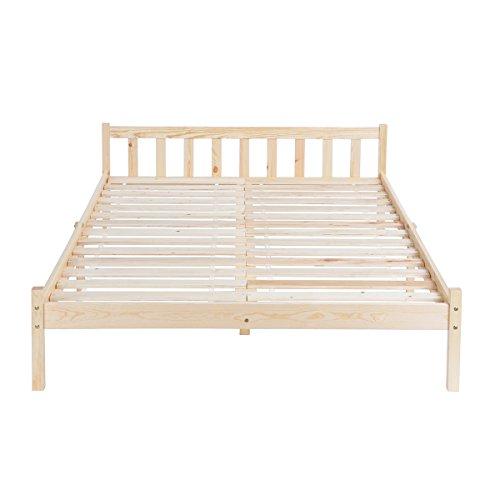 homycasa Doppelbett Rahmen, Kiefer Holz Bett, Bett, Matratze Größe 140cm von 190cm Verwenden können. Holz Queen-bett Rahmen