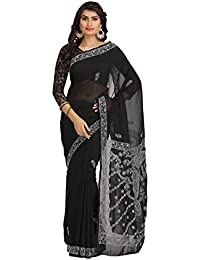 ADA Faux Georgette Saree With Blouse Piece (A191792_Black_Free Size)