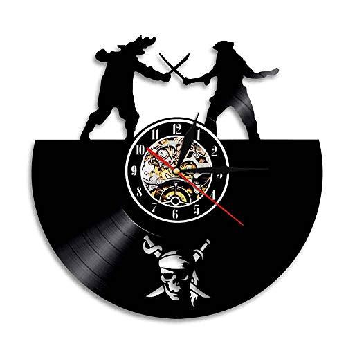 Cool Caribbean Pirate Vinyl Record Wall Clock, Classic Creative Movie Theme Art Wall Decorative Clock -30cm (12 Zoll)